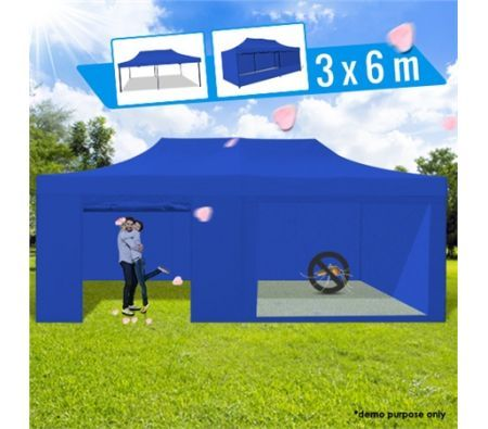3 X 6 Metre Portable Outdoor Blue Pop Up Gazebo Canopy
