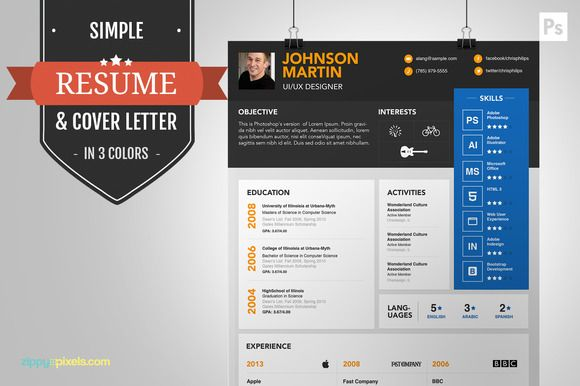 Psd Resume Template  Cover Letter  Resume Templates On Creative