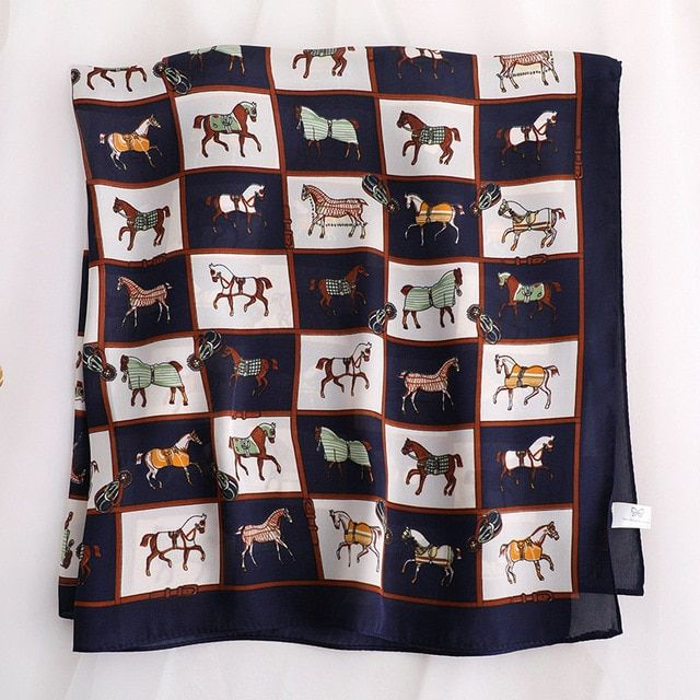 KOI LEAPING Woman Horse Pattern Printing 70x70cm Small Square Scarf Silk Scarf Scarves Headscarf Gift Color Blue Size 70x70 #horsepattern