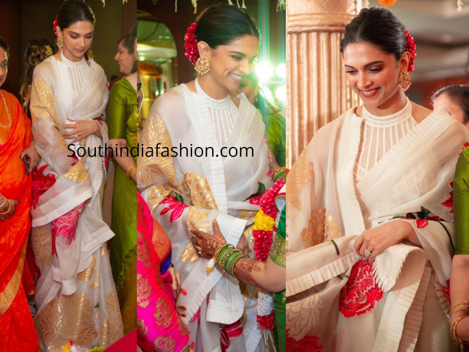 Deepika Padukone At Her Cousin S Wedding South India Fashion Bridal Blouse Designs Saree Jacket Designs Deepika Padukone Saree