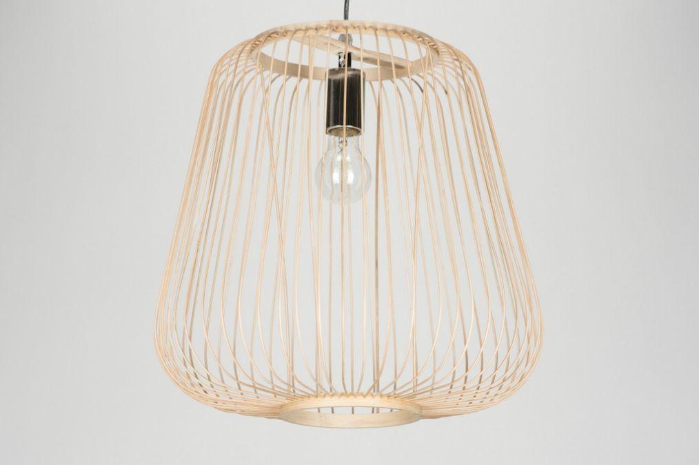 Hanglamp 72074: Modern, Hout, Licht Hout, Rond