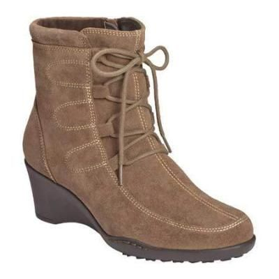 $69, Aerosoles Rosoles Tor Guide Mid Brown Suede Boots. Sold by Shoebuy. Click for more info: https://lookastic.com/women/shop_items/126633/redirect