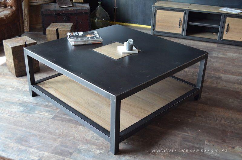 Table Metal Bois Salle Manger Table Basse Bois Metal Table Basse Table Basse Carree