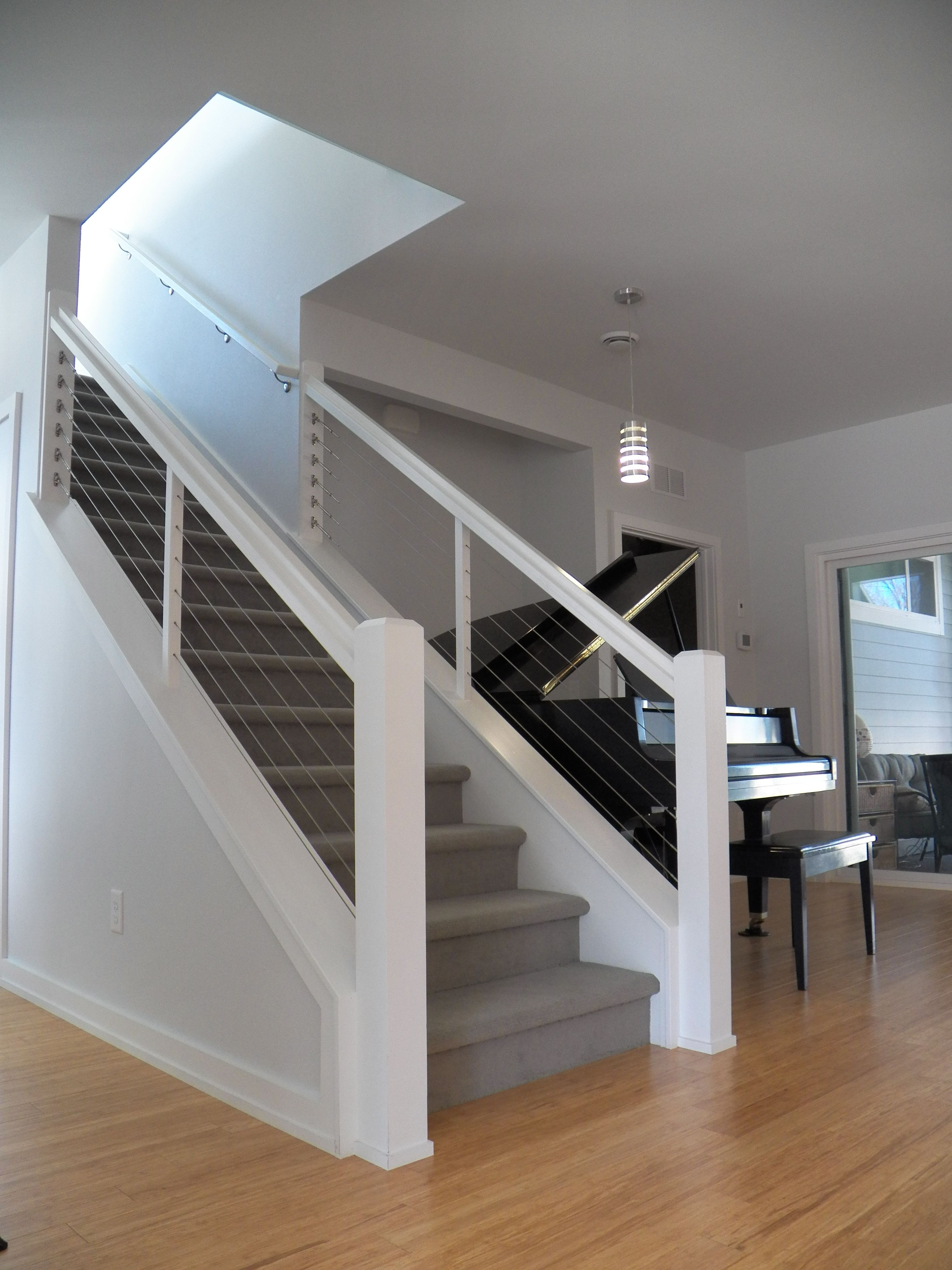 Best Staircase With Steel Cable And Wood Railings Bentonville 640 x 480