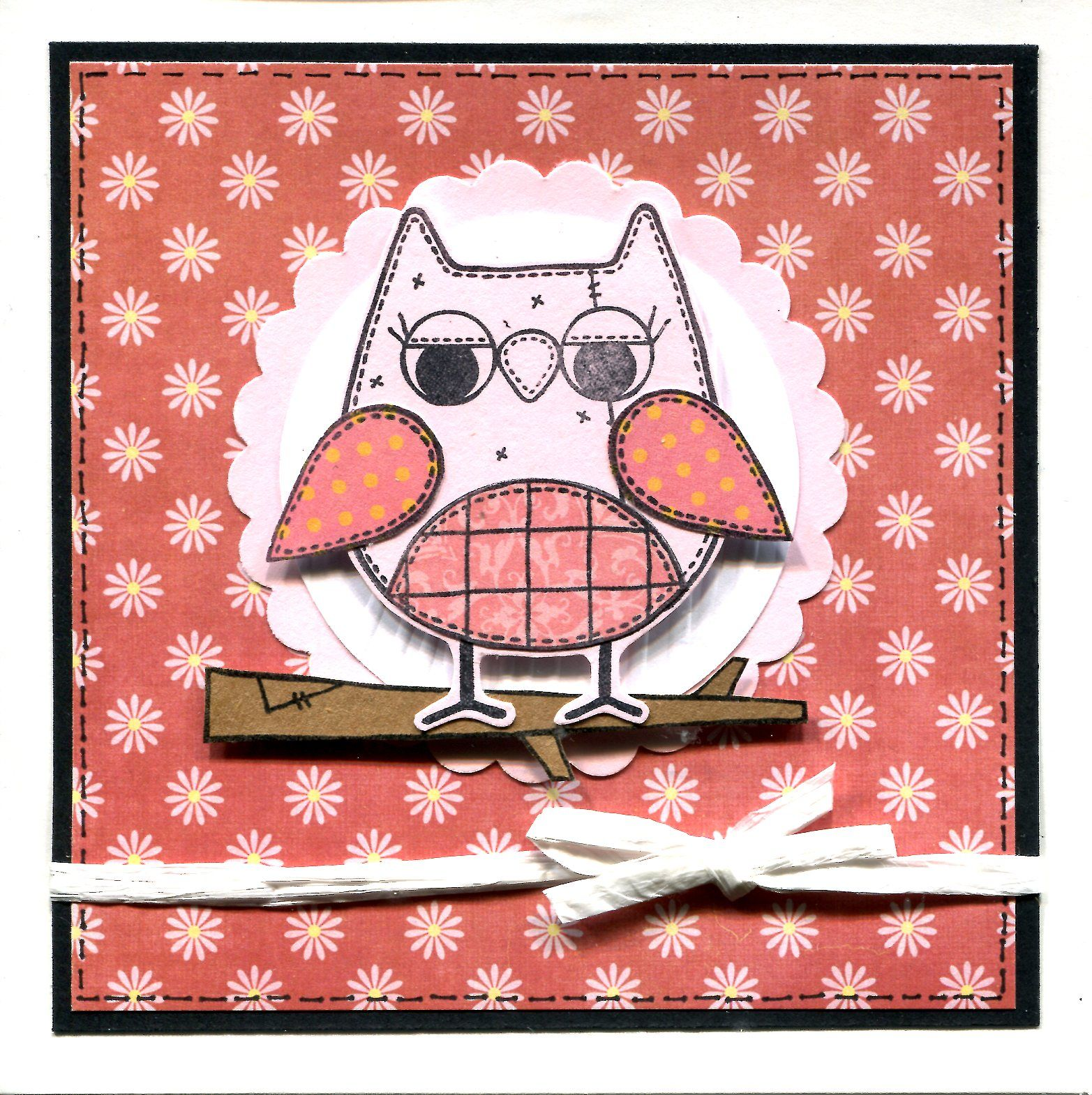 Handmade Card Using Woodware Owl Stamp Woodware Owl Card