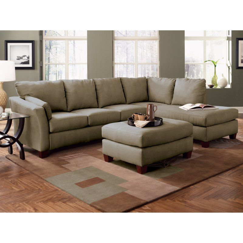 Klaussner Drew LAF Sofa Sectional with Chaise Thyme KLS2393