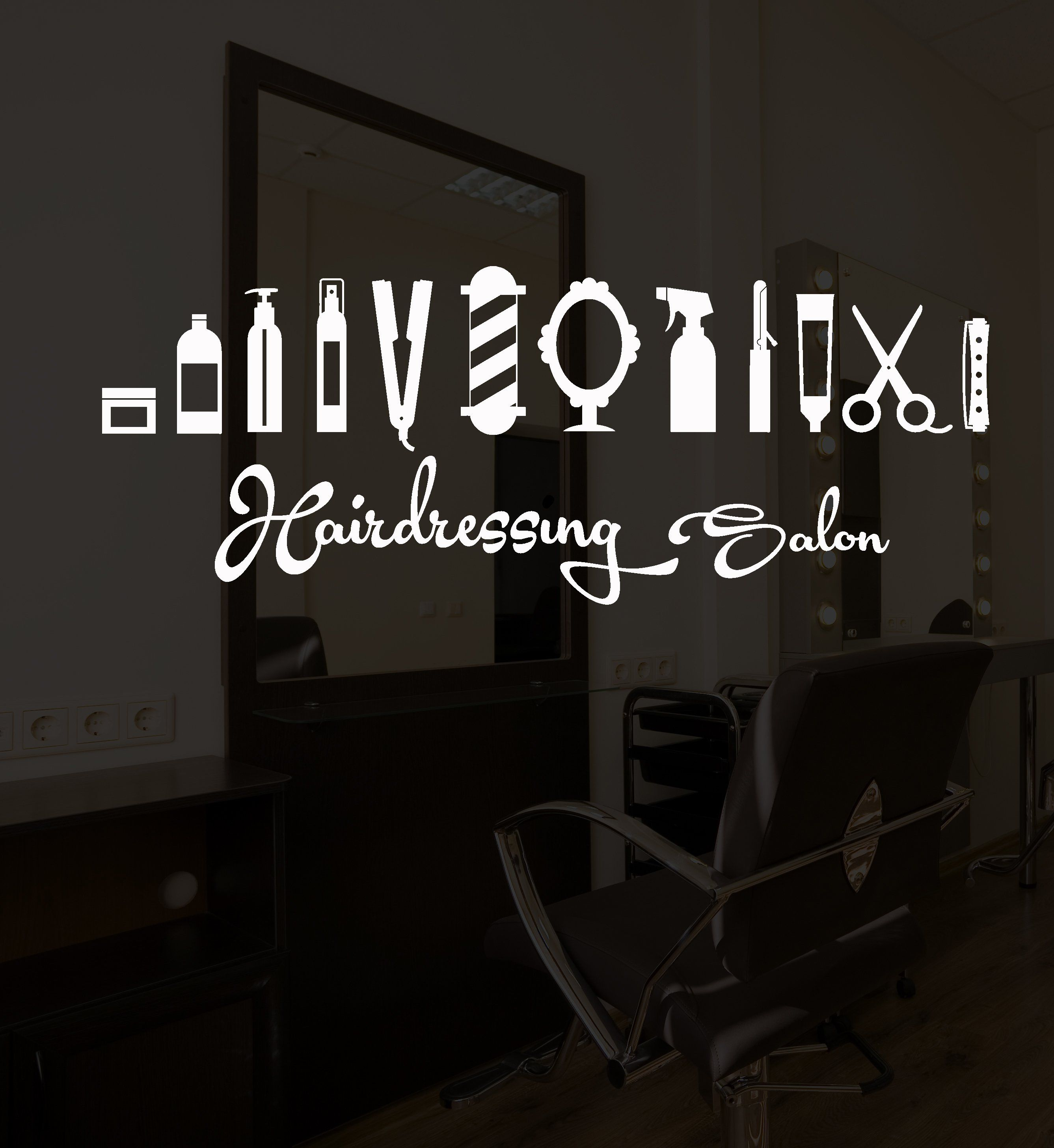 Vinyl Wall Decal Hair Hairdressing Salon Barbershop Signboard