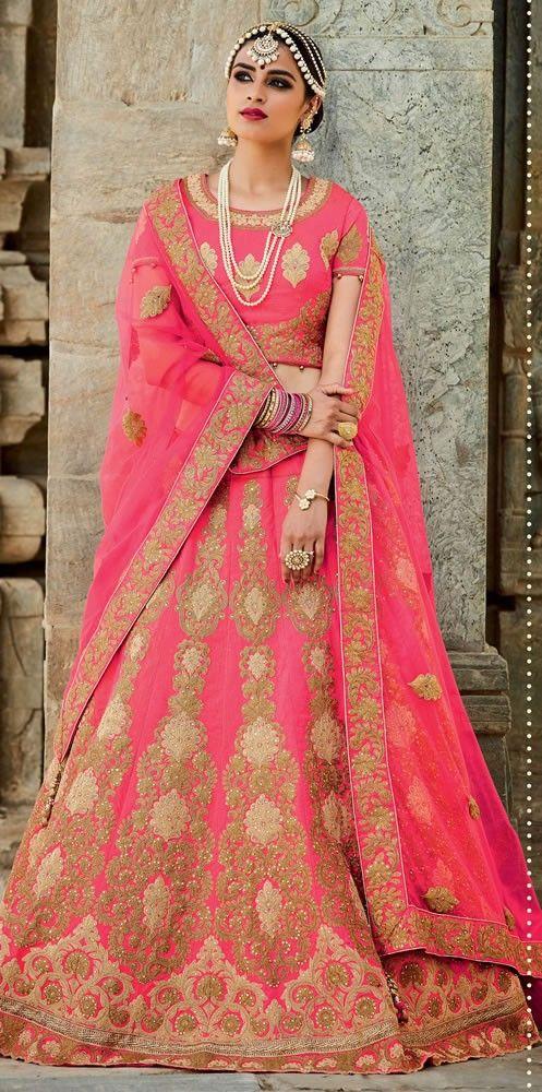 689e34fee5 Designer Pink Colour Mastani Silk Embroidery Work Wedding Wear Lehenga Choli