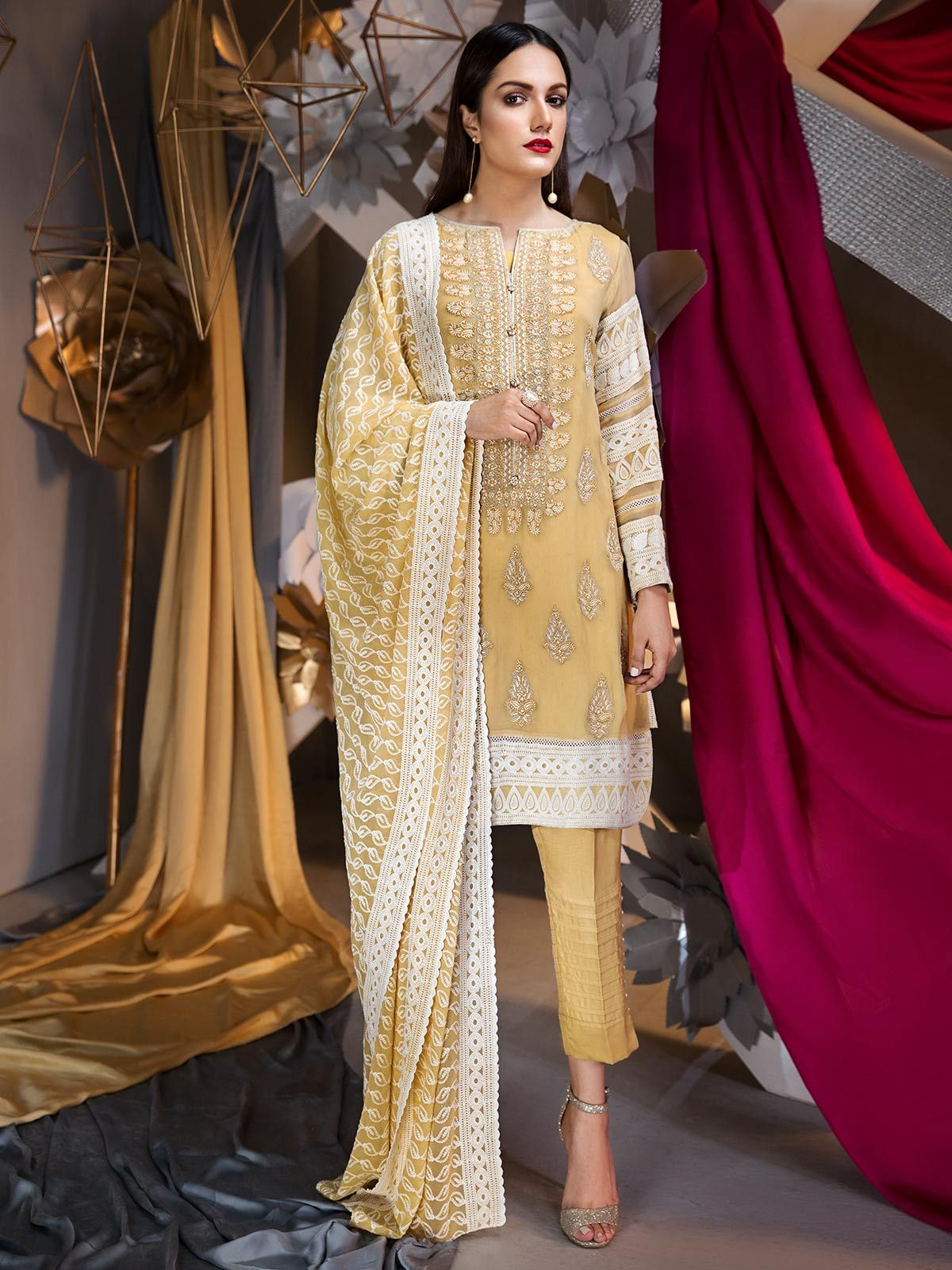e834a7dad32 Pakistani traditional style 3 piece cream dress by Eden robe Pakistani eid  dresses  springcollection  spring  readytowear  pretwear  unstitched  online  ...