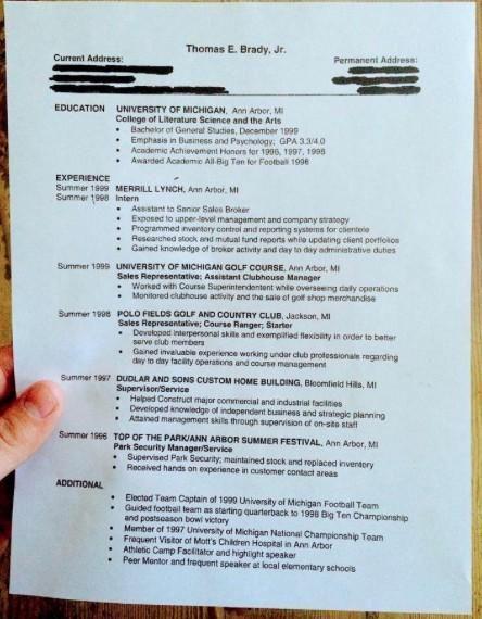 Field Yates On College Resume Business Psychology Tom Brady College