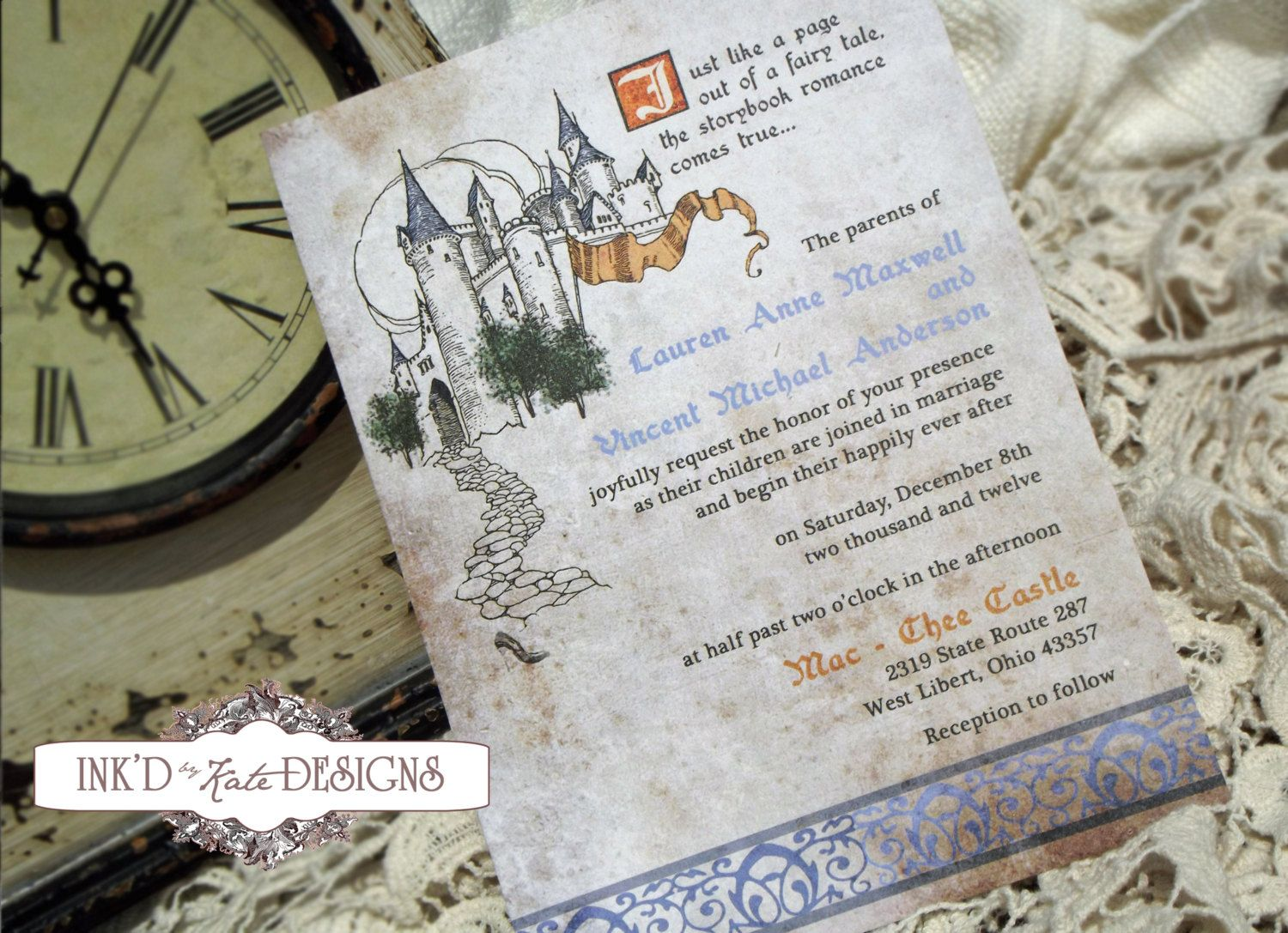 Vintage Fairy Tale Story Book Wedding Invitation by inkdbykate ...