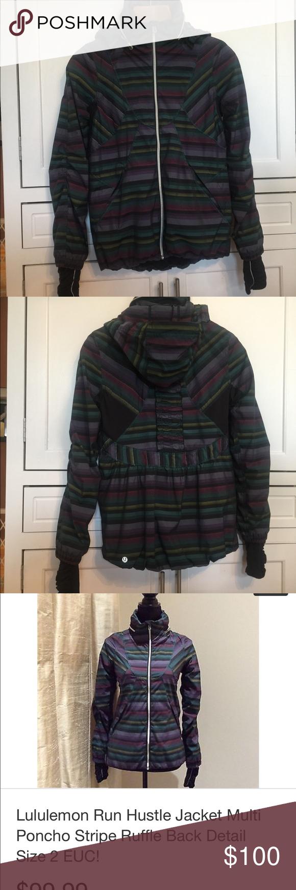 635b665f5b8 Lululemon Run Hustle Jacket Multi stripe, poncho style, ruffle back, stow  away hood, thumb holes, reflective. Great jacket in EUC. lululemon  athletica ...