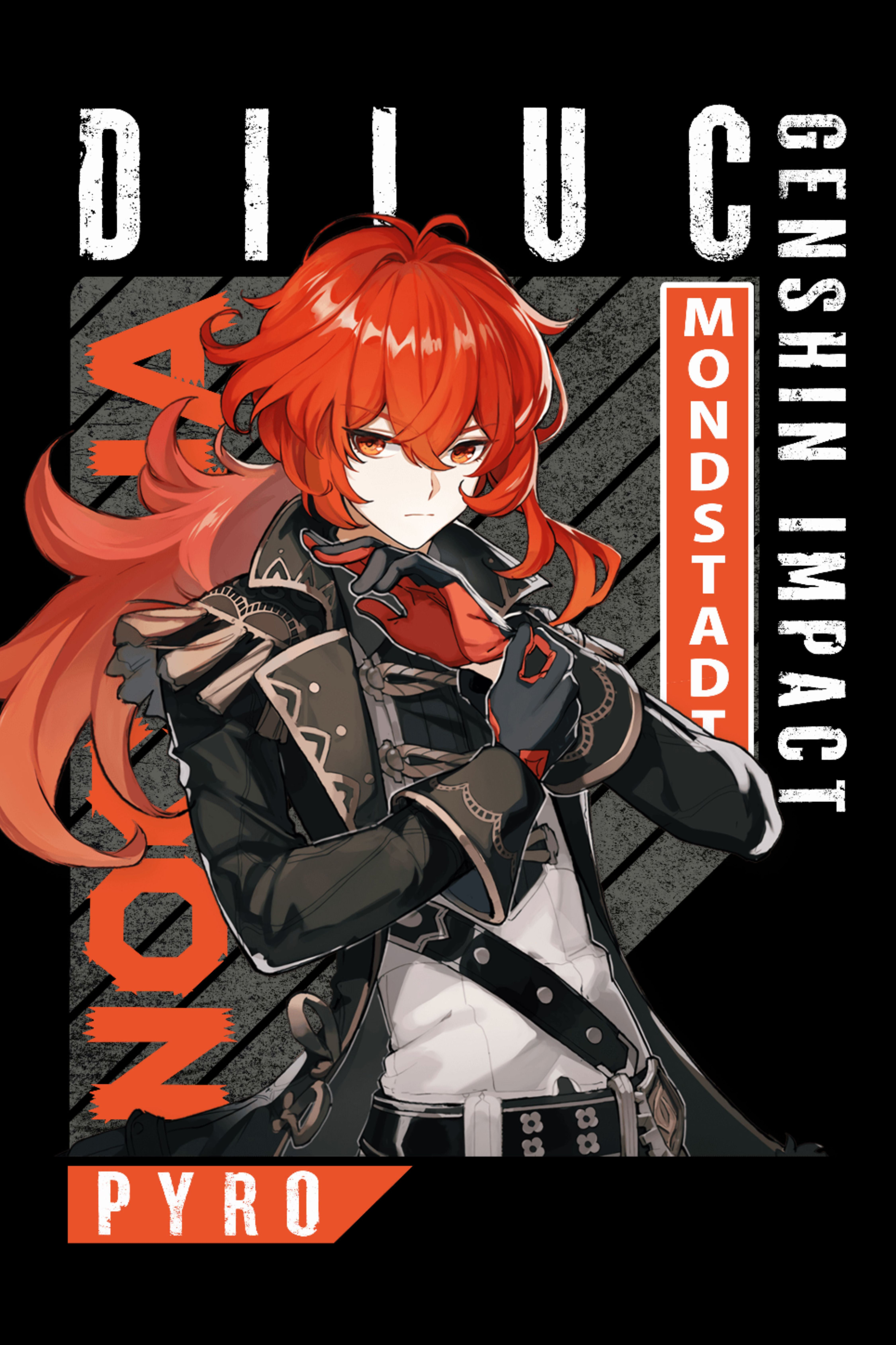 Diluc Genshin Impact Characters Anime Manga Art Poster