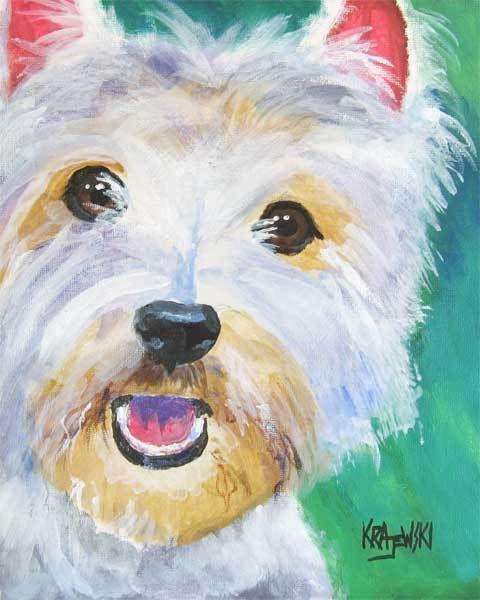 West Highland White Terrier Art Print Dog 11x14 Signed