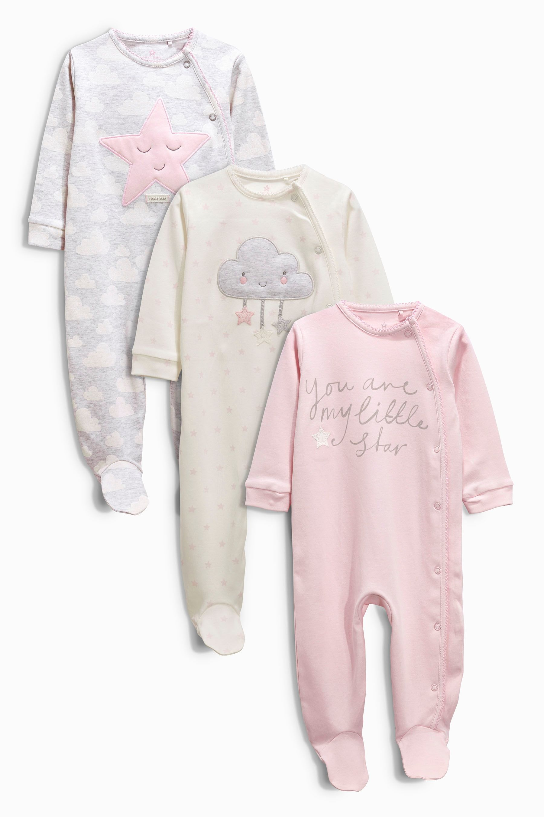 Buy Three Pack Grey Star Sleepsuit 0mths 2yrs from the Next UK