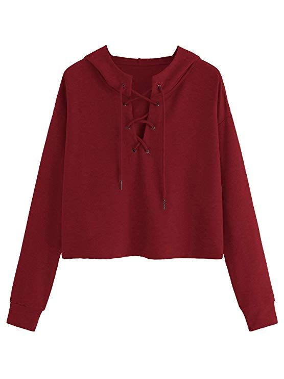 b794fe8d1 Romwe Women's Lace Up Round Neck Long Sleeve Knit Crop Top Short Sweatshirt  at Amazon Women's Clothing store: