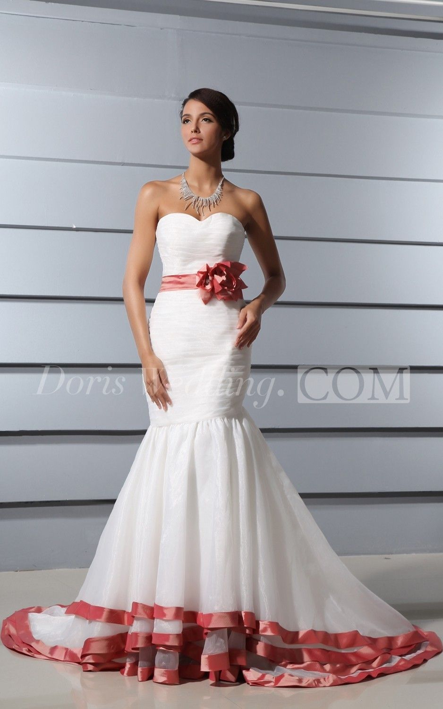 Beautiful sweetheart ruching mermaid red wedding dress