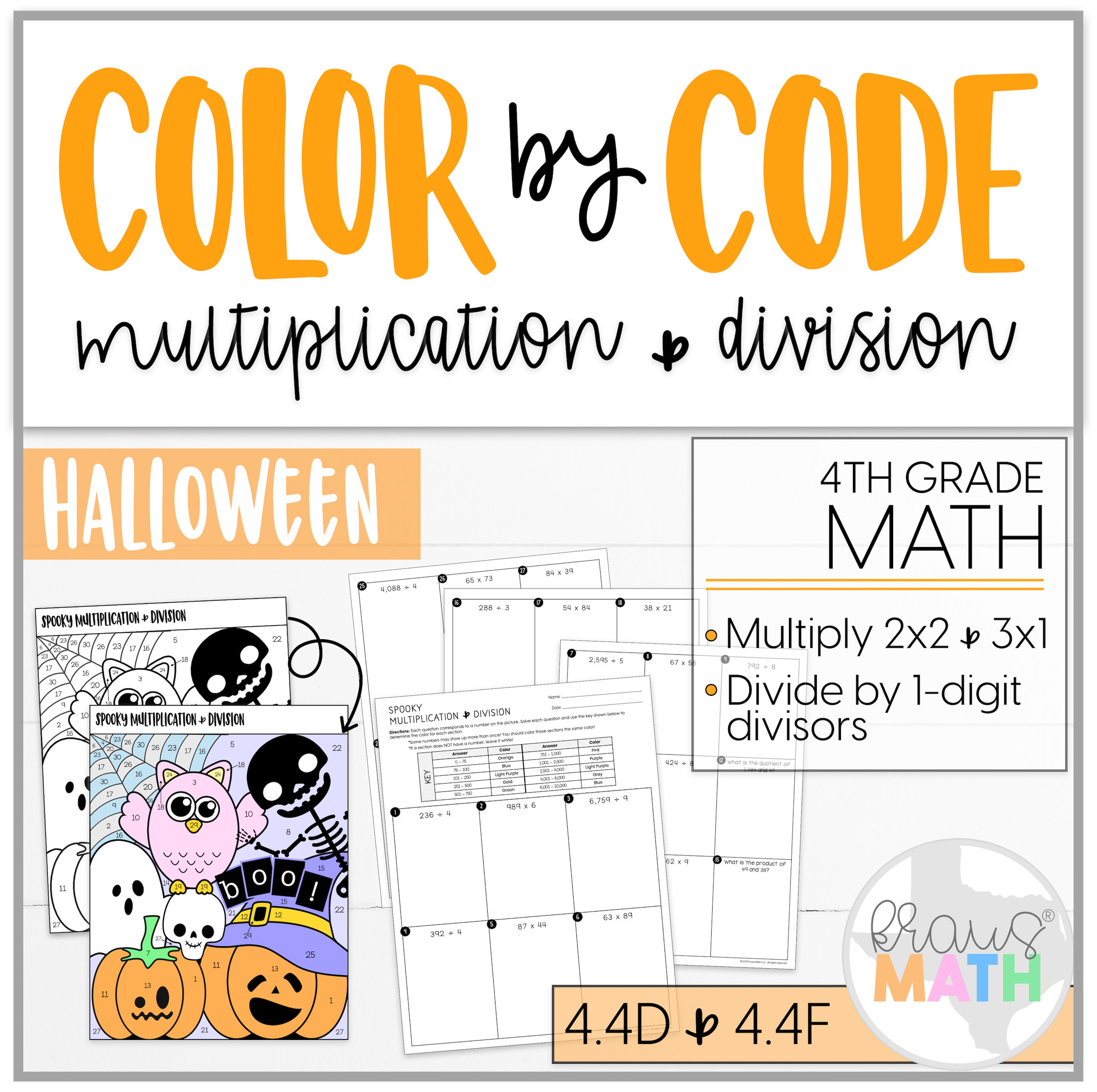 Halloween Color By Number 4th Grade Math Multiplication