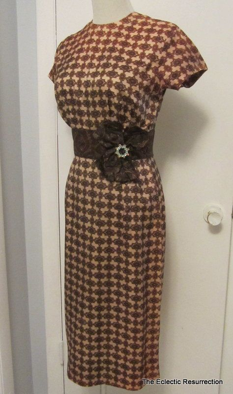 Vintage 1950s Wiggle Dress Minx Modes Bow Waist Small by linbot1, $50.00