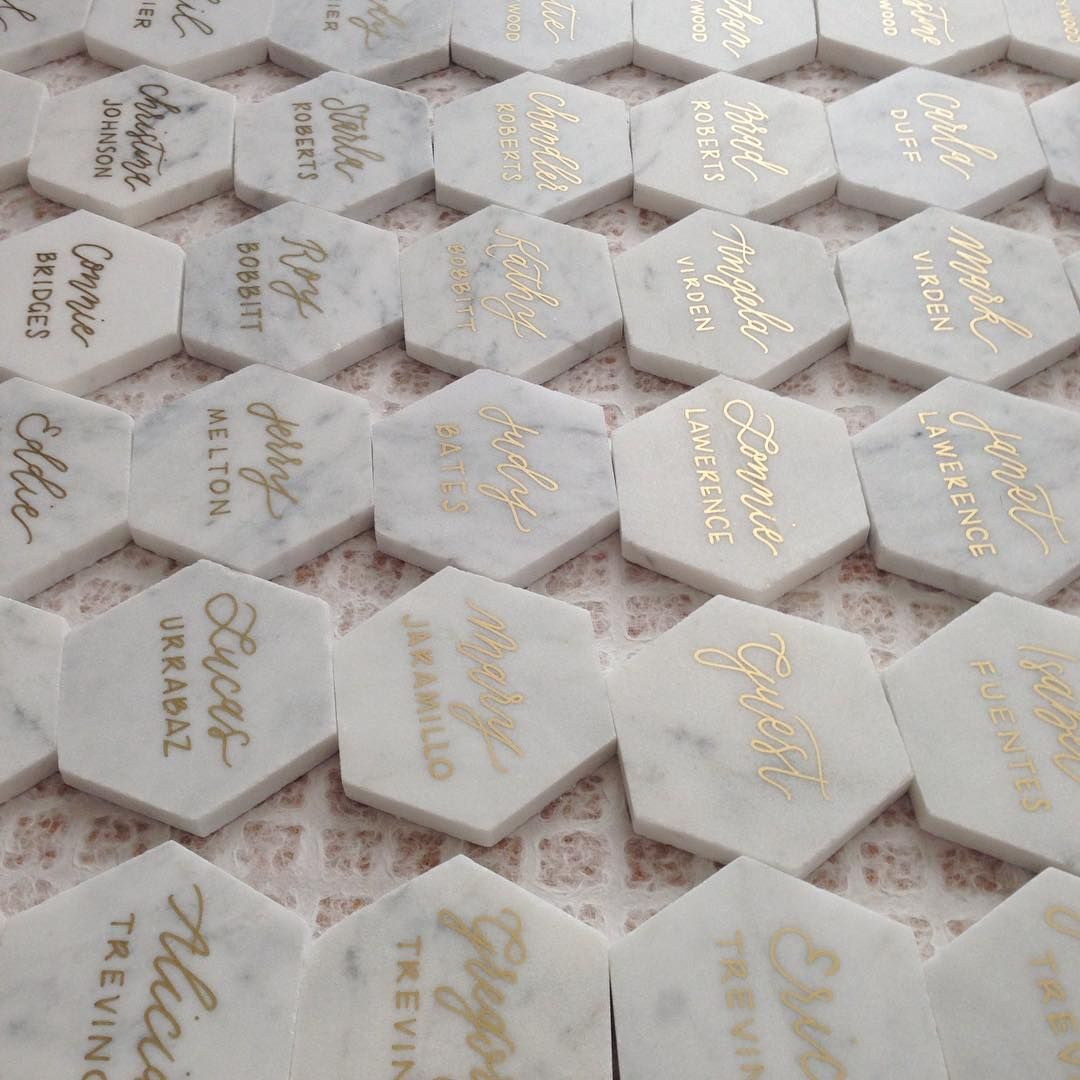 Marble tile place cards with gold lettering