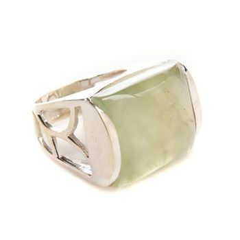 Chunky Gemstone Cocktail Silver Ring (Green Prehnite) Handmade. I love this stone, it is another of my favourite gems.