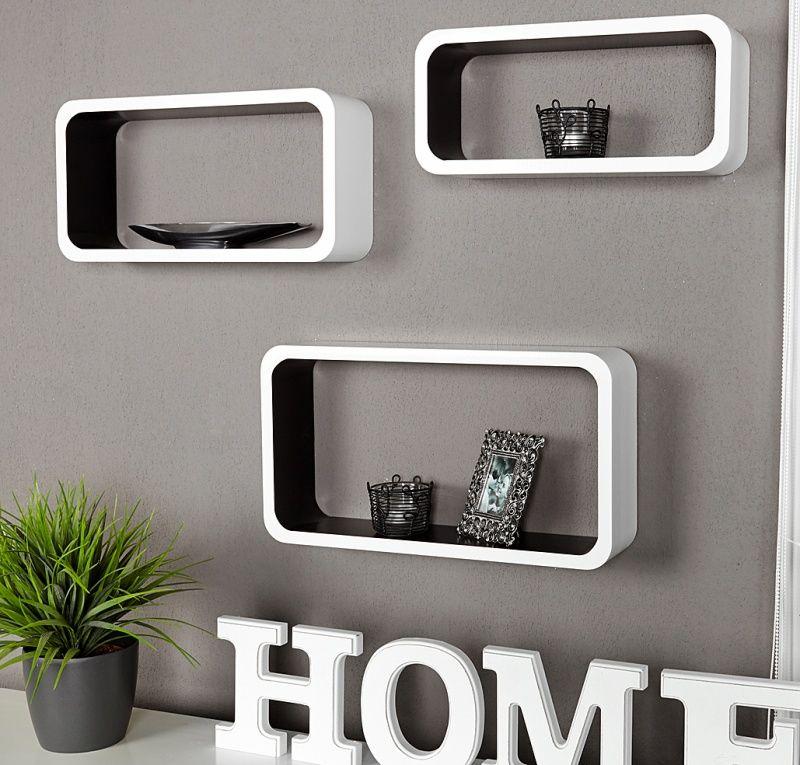 Wandplank Retro Cubes.Retro Lounge Wandplank Wit Zwart Medium Home Shelves Cube
