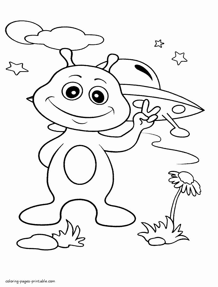 Space Coloring Pages For Toddlers Lovely Alien At Earth Coloring Pages Outer Space Space Coloring Pages Dinosaur Coloring Pages Space Coloring Sheet