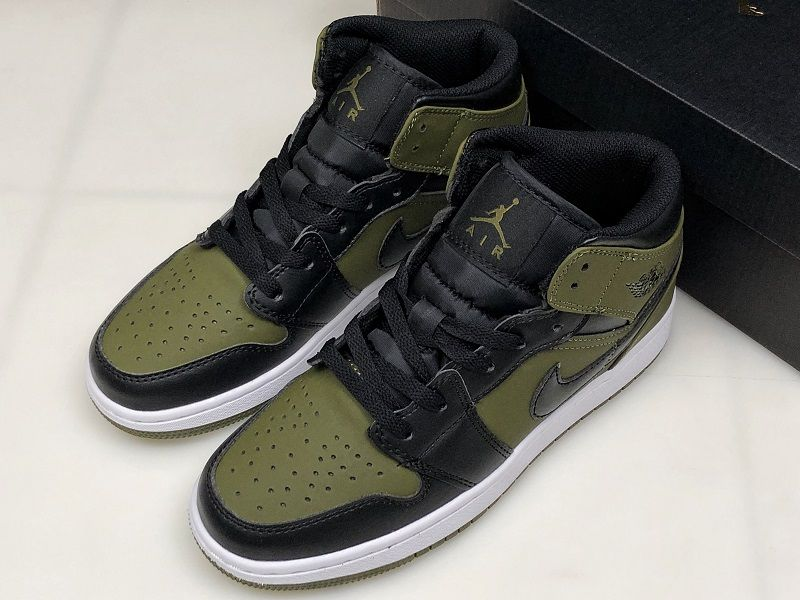 bcc12b41889f Air Jordan 1 Mid GS Olive Canvas Black-White Girls Size 554725-301 ...
