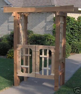 New japanese style cedar garden arbor pergola with gate for Japanese pergola kits