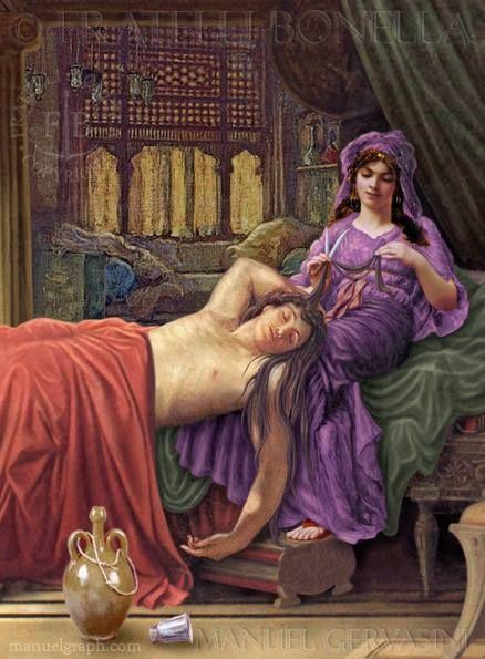 Samson And Delilah Cutting Samsons Hair Art By Manuel Gervasini