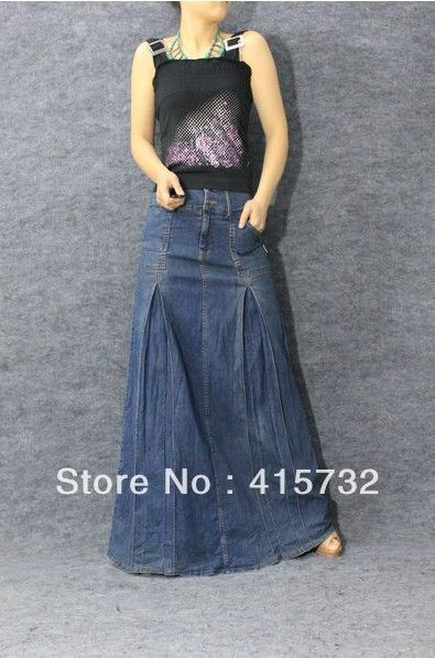 mermaid denim skirts long | ... Waist Jeans Skirt Denim Bust Skirt ...