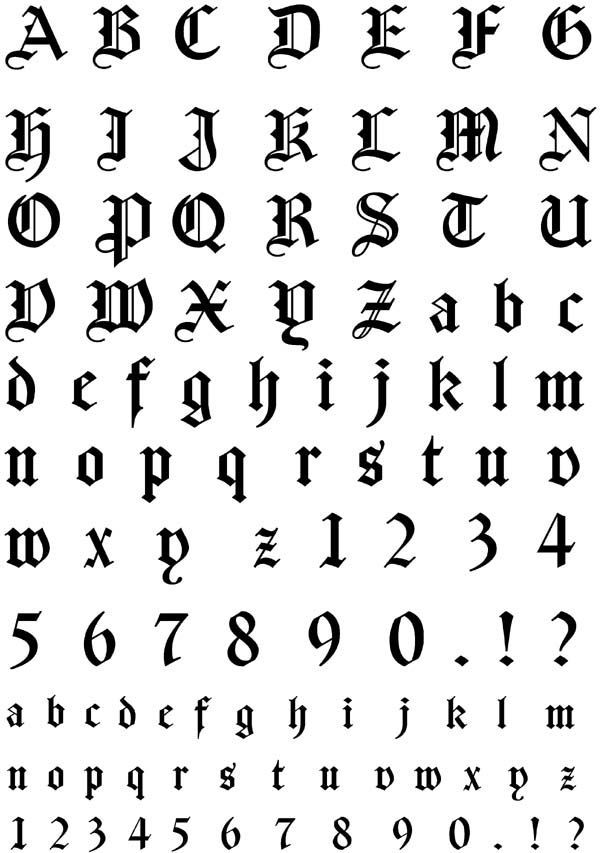 German Gothic Font Unmounted Rubber Stamp Sheet #tattoo_fonts_gothic