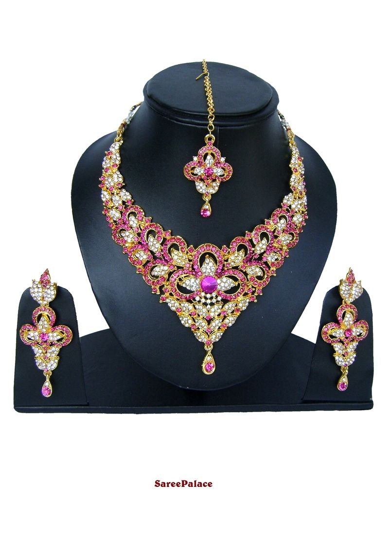 Stone work necklace set in gold and hot pink necklace set