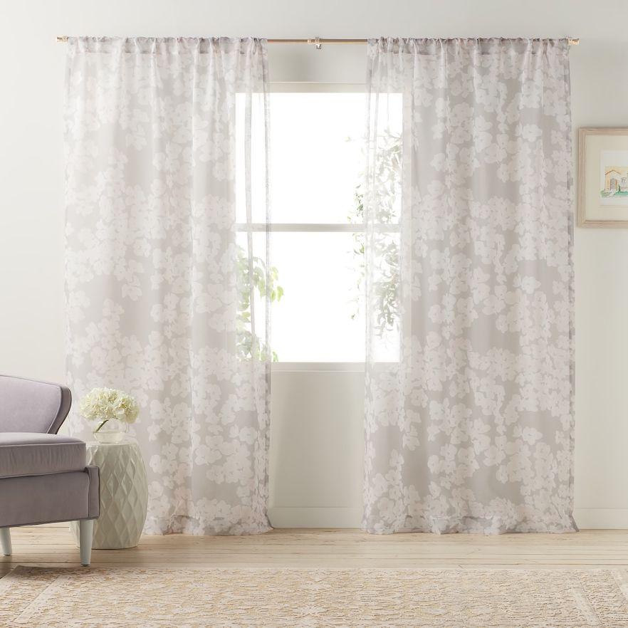 Lc Lauren Conrad 1 Panel Pale Blossom Sheer Window Curtain