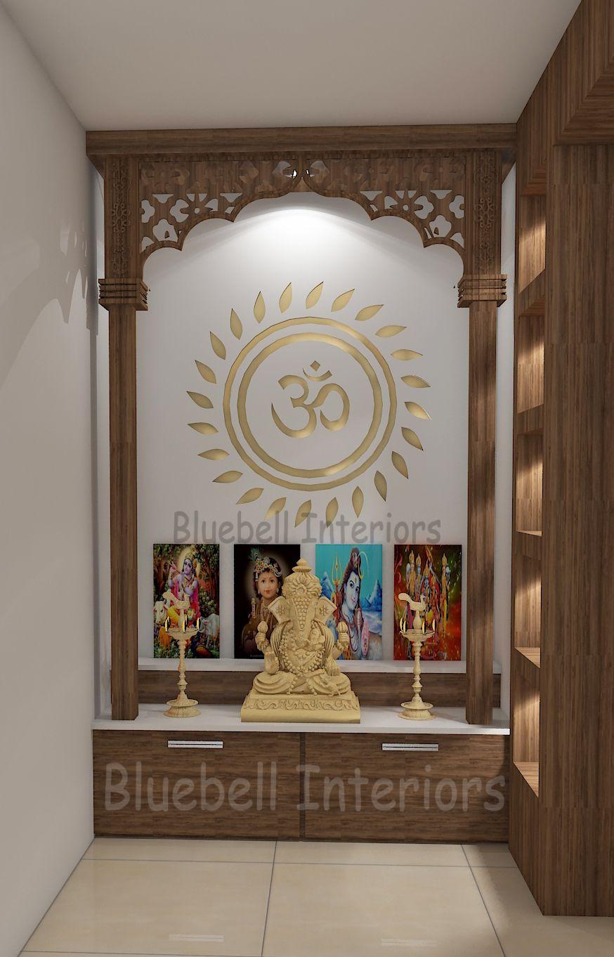 Pooja Unit Design Wooden Columns Two Steps Pooja Unit Golden Ohm Pooja Unit Pooja Partition Pooja Room Design Pooja Room Door Design Room Door Design