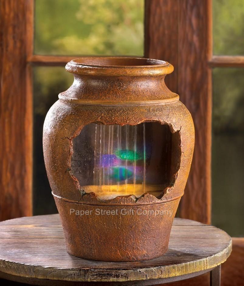 Ancient Greek Grecian Broken Urn Pot Waterfall Indoor Fountain With Led Light