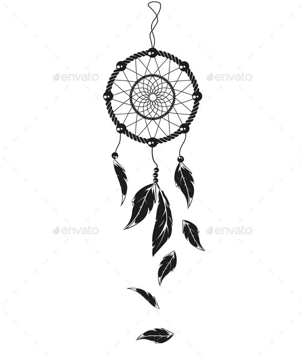 Simple dream catcher tattoos vectors tattoo for Dream catcher graphic