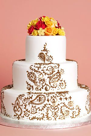 Simple Henna Cake Wedding Trend Watch Paisley Cake Cupcake