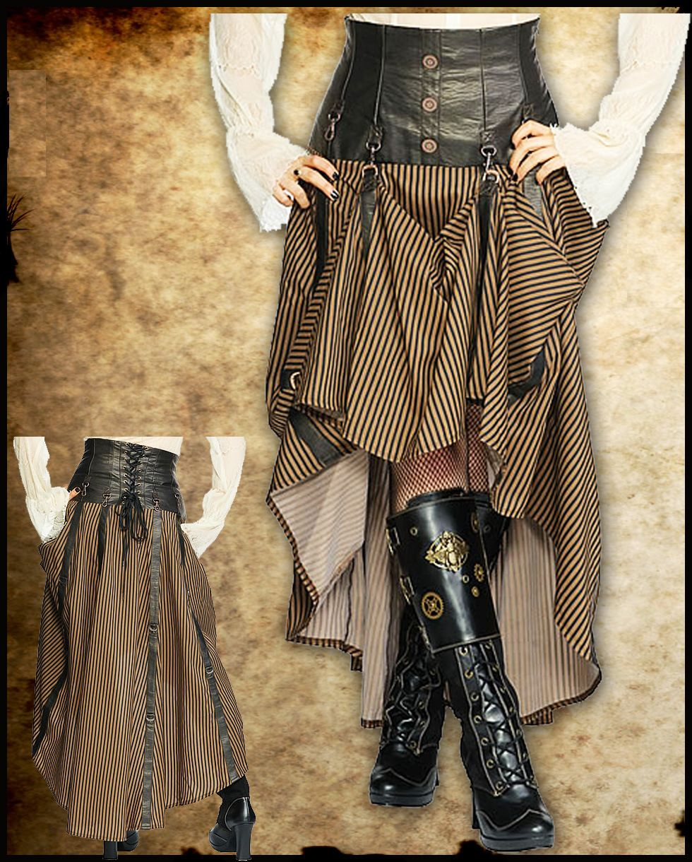Jawbreaker-Steampunk-Intrepid-Long-Black-Brown-Striped-Copper-Cog-Corset-Skirt-2