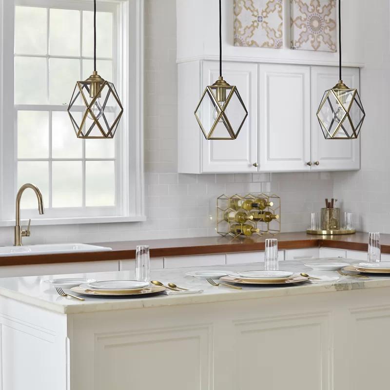 Kumar 1 Light Single Geometric Pendant In 2020 Pendant Light Hanging Pendant Light Fixtures Dining Room Pendant