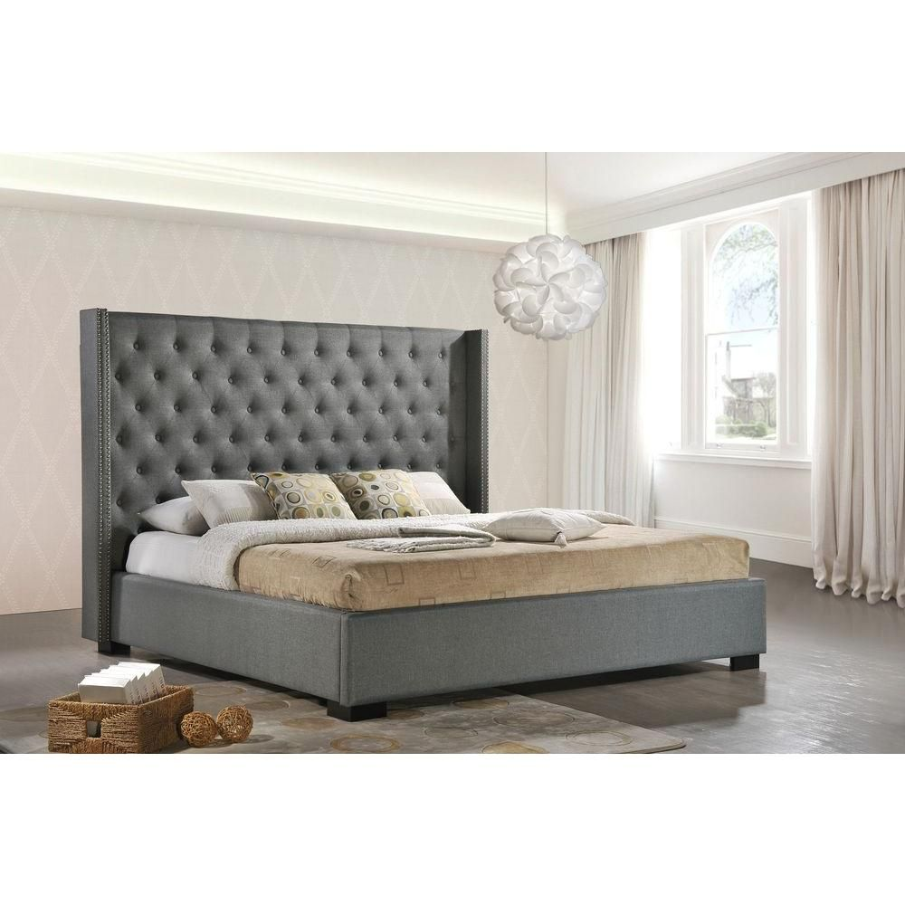 Luxeo Newport Gray King Upholstered Bed Lux K6368 Gry