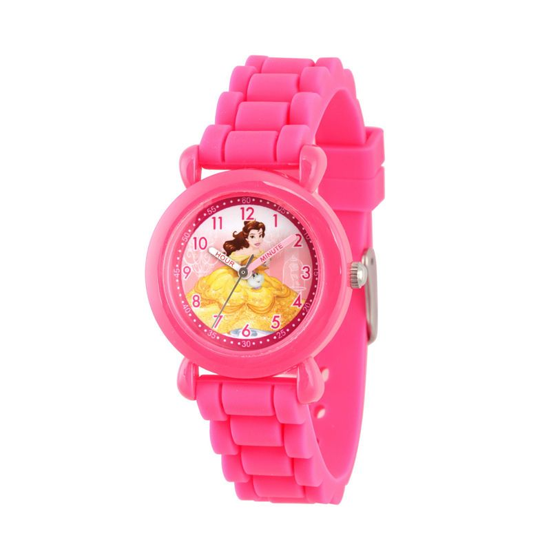 Girls' Disney Princess Belle Pink Plastic Time Teacher Watch, Pink Silicone Strap, WDS000146