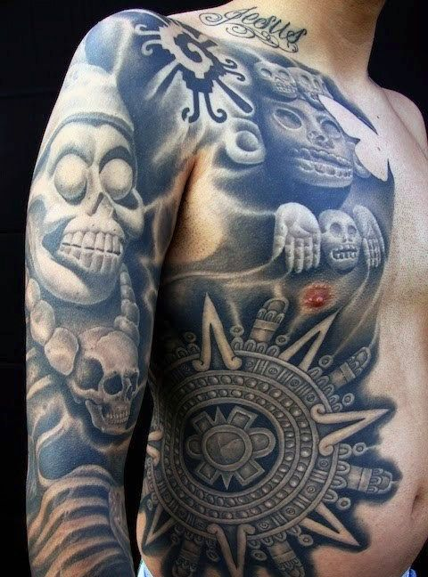 61d8dcbd08b 80 Aztec Tattoos For Men - Ancient Tribal And Warrior Designs ...