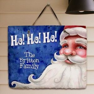 Personalized Santa Welcome Christmas Slate Plaque