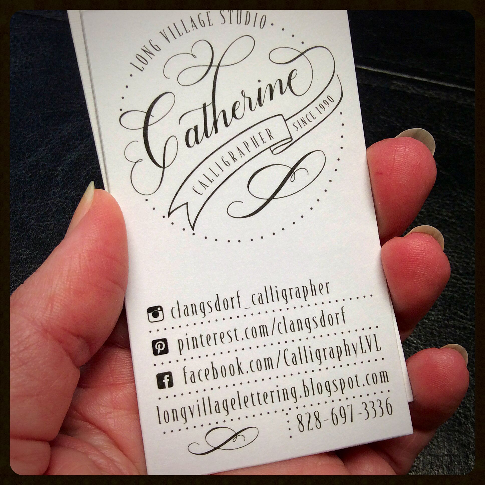Business card design for Calligrapher. Long Village Studio ...