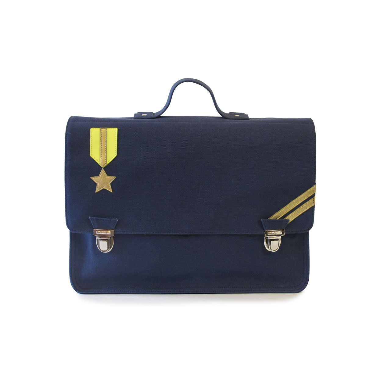 This wonderful brand is known for its stylish, classic designs inspired by chic French 1950's and 1960's design. The Navy first class satchel is a beautiful bag ideal for students aged 6 years and over. The satchel has plenty of room inside for school equipment and belongings. The satchel is crafted from 100% cotton material, reinforced with metal rivets and fasteners and finished in a waterproof coating.