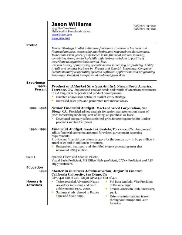 sample resume free resumes easyjob samples for every career over - financial modeling resume