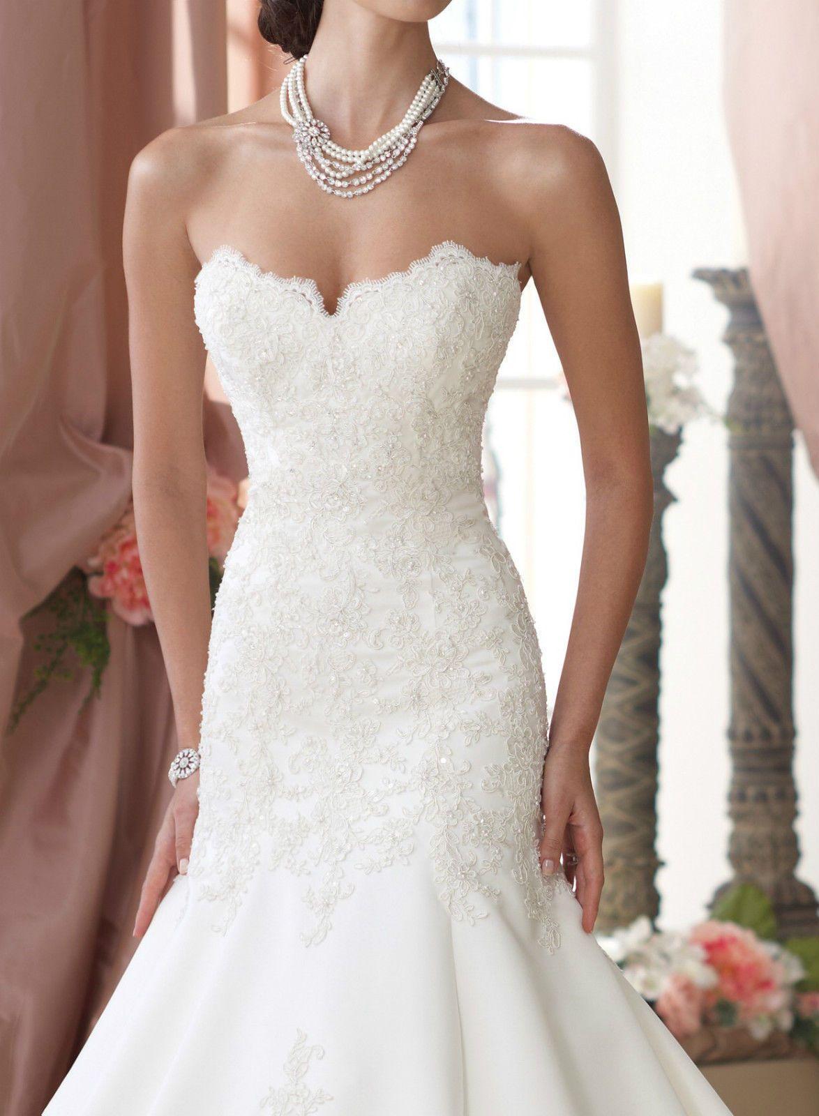 Sexy Satin Weiß/Elfenbein Brautkleid Ballkleid Hochzeitskleid 34 36 ...