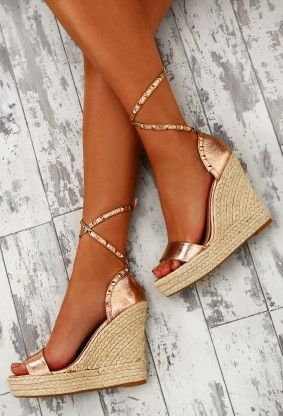 4fab12263291 Vegas Volt Gold Studded Ankle Wrap Wedges