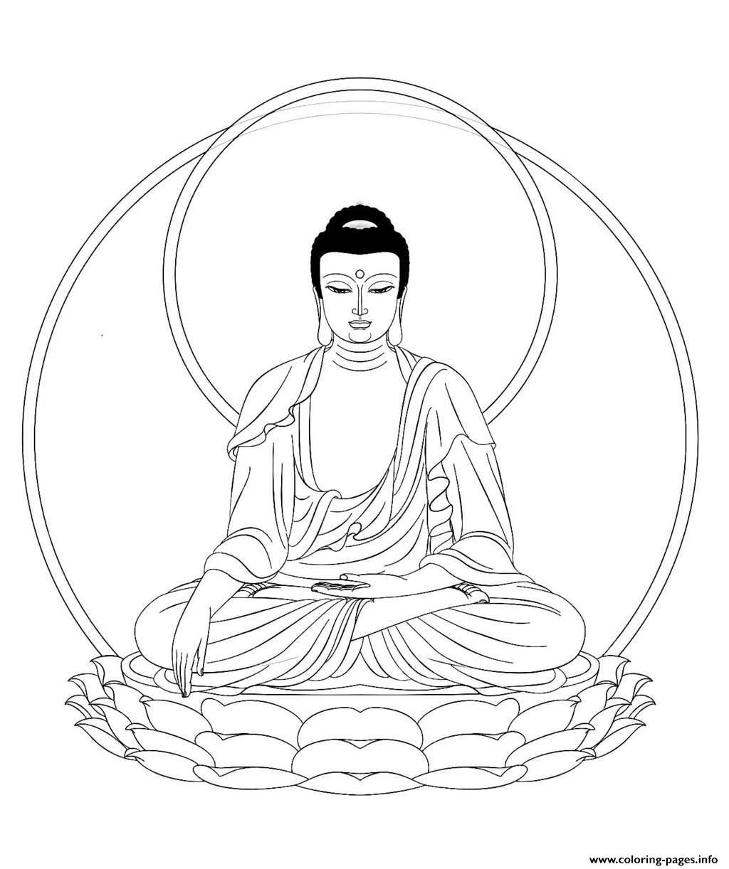 Print King Bouddha Adult Coloring Pages